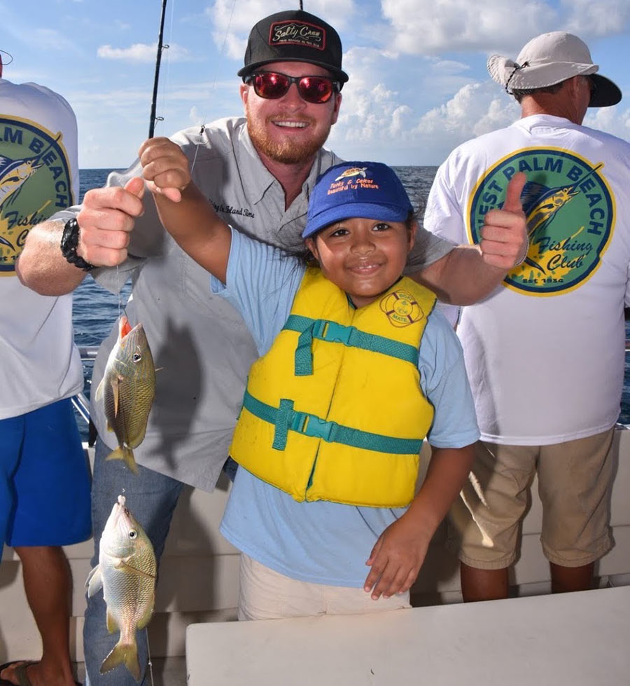 Two fish caught on guppy rig during Kids Fishing Day